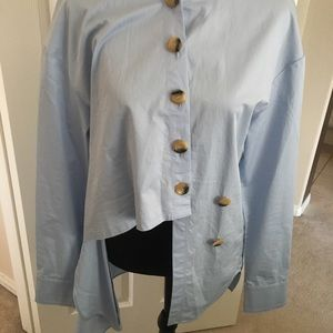 Tibi asymmetrical  collared shirt. Light blue